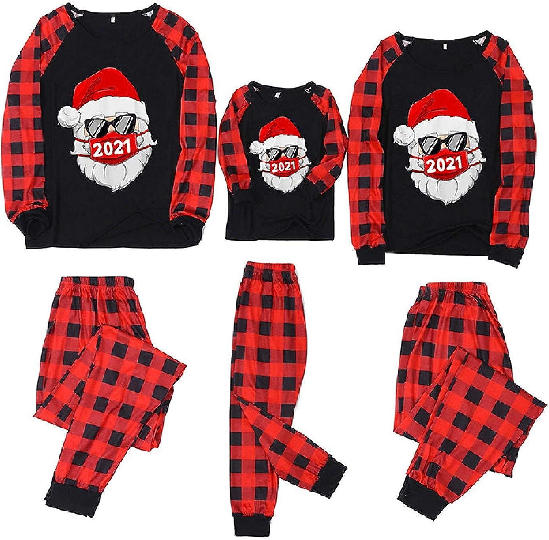 Family Matching Christmas Pajamas Sets - 2021 Family Xmas Pjs Mask Santa Print Plaid Long Sleeve Tops Pants Sleepwear Set