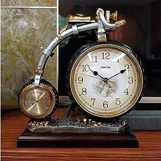 Table Clock Sala de Estar Creativa Reloj de Reloj Grande Ultra silencioso Reloj de Cuarzo de Estilo Europeo Reloj de péndulo casero Moderno Simple (Color : Brown)
