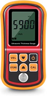 Flexzion Ultrasonic Thickness Gauge Meter Tester Tool - Digital Metal Thickness Measuring Probe Instrument for Steel Copper Aluminum Iron Plate Glass PVC Pipe & Other Hard Material w/Couplant Gel