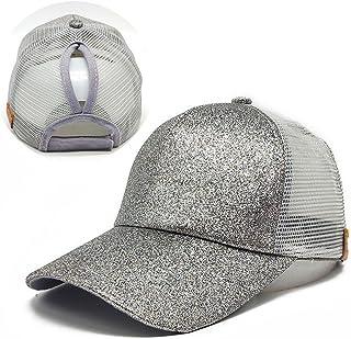 ce288bcd Ponytail Baseball Cap, 2018 Women Sequins Shiny Messy Bun Snapback Hat Sun  Caps