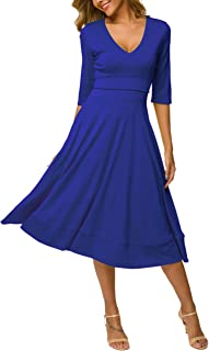 MAVIS LAVEN Women Half Sleeve Deep V Neck Big Swing Party Cocktail Pleated Dress