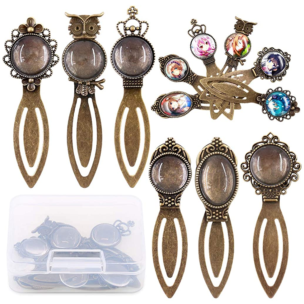 Swpeet 12Pcs 6 Styles Antique Bronze Bookmark Pendant Tray Kit, Including 6Pcs Assorted Styles Bookmark Pendant Tray with 7Pcs Glass Cabochon for Bracelet Necklace DIY Jewelry Making