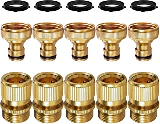 SANCEON Garden Hose Quick Connect, 5 Sets (10PCS) 3/4 inch GHT Solid Brass No-LeakGarden Hose Connector Fitting, Easy Connect and Release Adapter Set, Male and Female(5 Pairs)