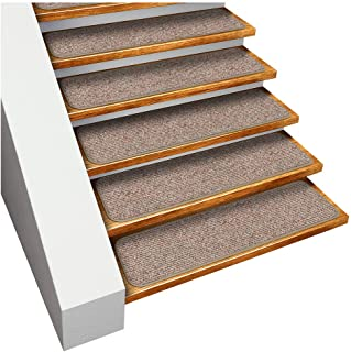 House, Home and More Set of 15 Skid-Resistant Carpet Stair Treads - Pebble Beige - 8 Inches X 30 Inches