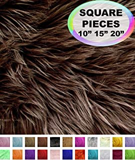 Barcelonetta | Faux Fur Squares | Shaggy Fur Fabric Cuts, Patches | Craft, Costume, Camera Floor & Decoration (Dark Brown, 10