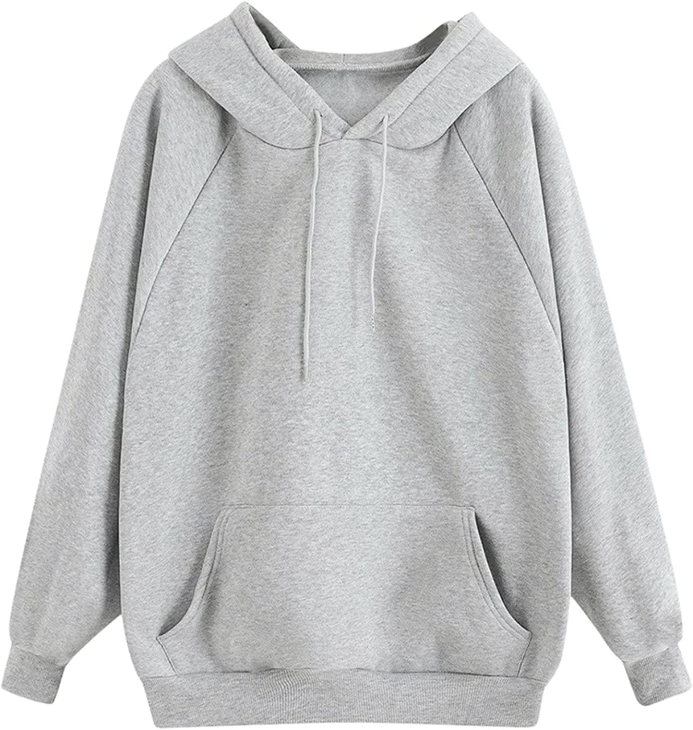 Women's Long Sleeve Solid Pullover Comfy Casual Hoodie Sweatshirt Short Thick Warm Top Tunic with Pocket