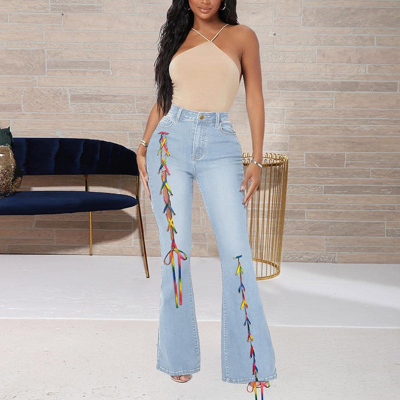LEIYAN Womens Slim Fit Bell Bottom Jeans Casual High Waist Stretch Bandage Yoga Flares Denim Bootcuts Pants