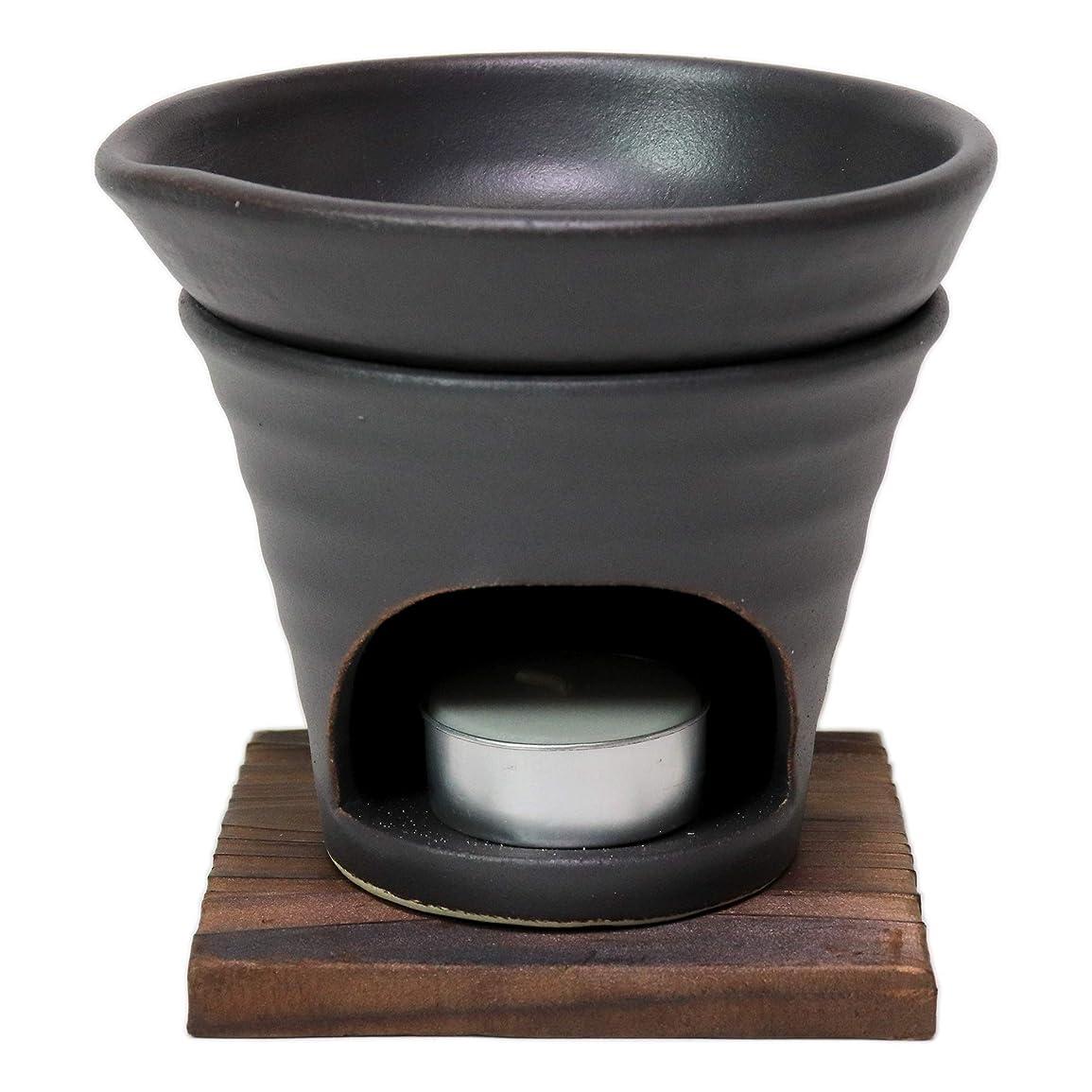 付与すずめあらゆる種類の香炉 黒釉 茶香炉(青) [R11.8xH11.5cm] HANDMADE プレゼント ギフト 和食器 かわいい インテリア