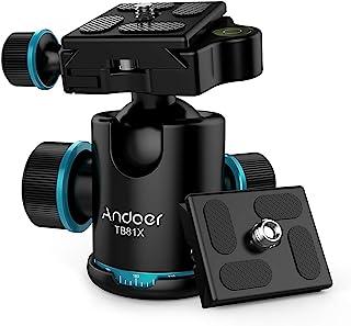 Andoer TB81X kogelkop statiefkop 360 graden panorama kogelkop voor statief monopod Slider DSLR-camera (3 stuks schroefadap...
