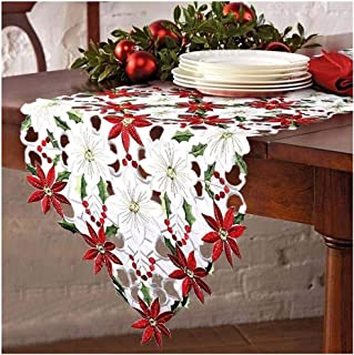 zhu%zai Christmas Rectangle Embroidered Table Runners Poinsettia Holly Leaf Table Linens Dresser Scarves for Christmas Decorations 15 x 70 inch