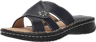 صنادل للنساء، نعال مريحة مفتوحة من الأصابع بتصميم نعال منزلقة، سهلة الارتداء، مخيطة يدويًا مع نعل مطاطي، حذاء أي مناسبة