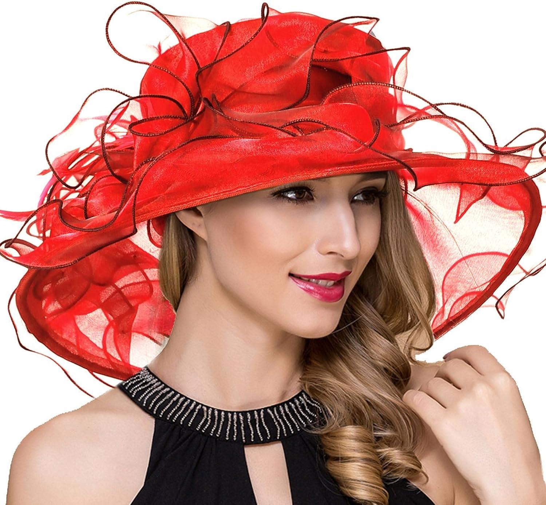 Ruphedy Lady Organza Derby Church Dress Fascinator Wide Brim Bridal Wedding Tea Party Hats S056