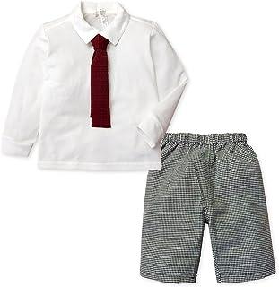 子供服 男の子 フォーマル スーツ 長袖 上下組 ポロシャツ ネクタイ付 ハーフ パンツ 千鳥格子 男児 キッズ