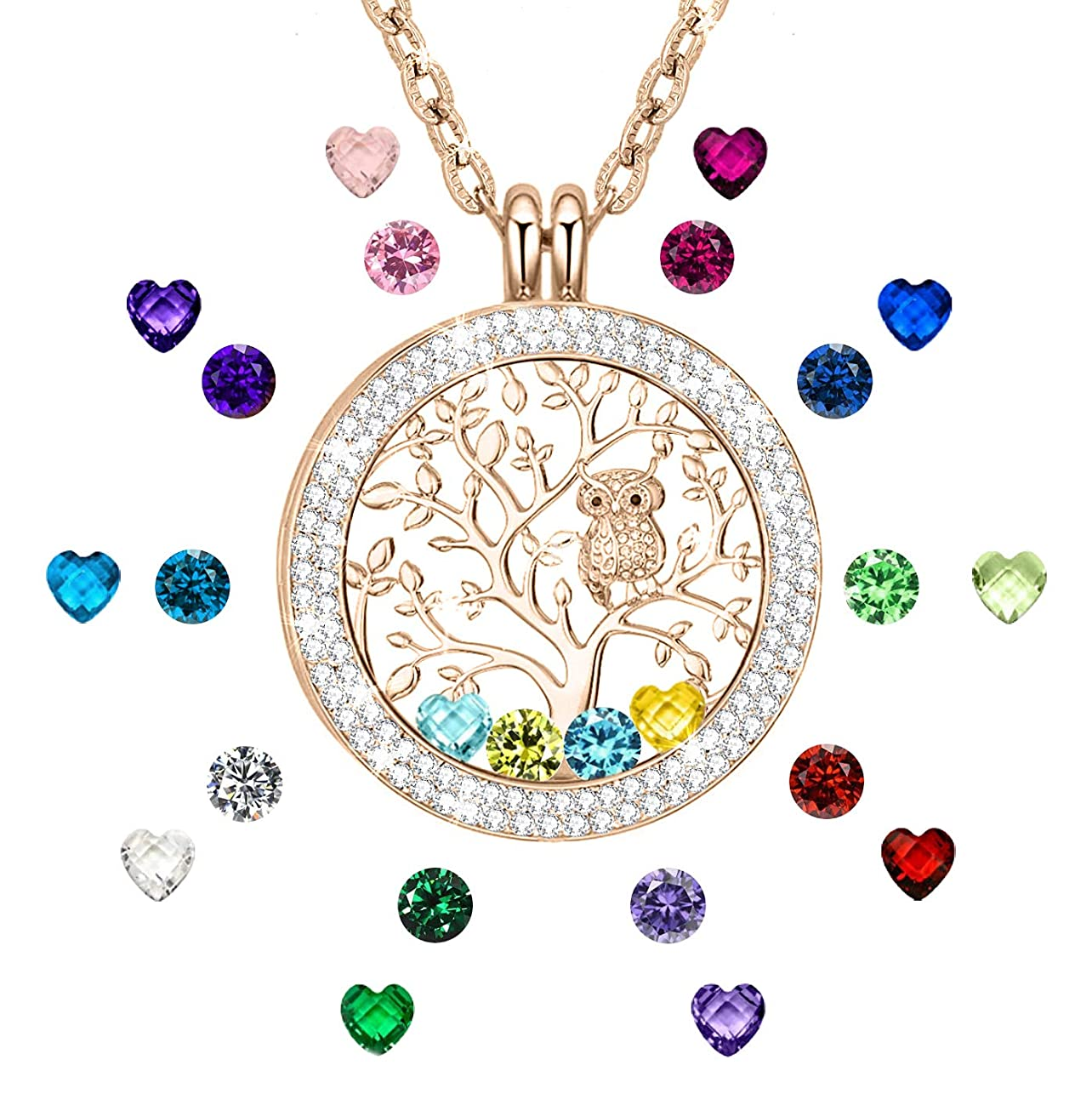 ?I Love You to The Moon and Back? Family Tree of Life Floating Charms Memory Locket Necklace with Created Birthstone