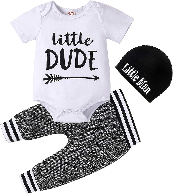 CETEPY Baby Boy Clothes Summer Newborn 3Pcs Infant Romper Short Sleeve + Pants + Hat