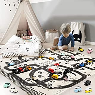 endosy Kids Traffic Sign with Street Play Map Parking Lot Road Mat Street Simulation Waterproof Mat with 18 Pcs Traffic Si...