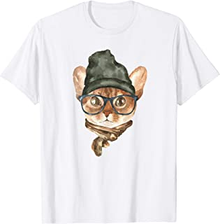 Hipster cat hat graphic shirt