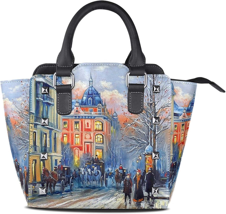 My Little Nest Women's Top Handle Satchel Handbag Oil Painting City Ladies PU Leather Shoulder Bag Crossbody Bag