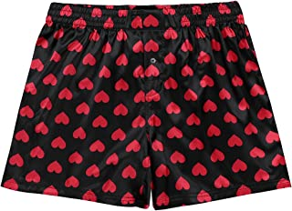 ranrann Men's Shiny Silky Satin Boxers Shorts Summer Loose Sports Lounge Trunks Underwear