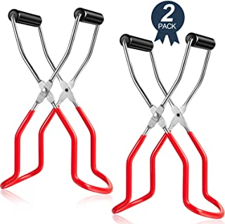 Canning Jar Lifter Tongs Stainless Steel Jar Lifter with Grip Handle for Safe and Secure Grip (Red, 2)