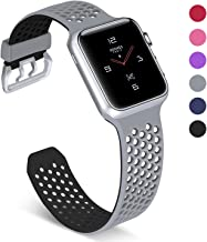 UMAXGET Compatible with Apple Watch Series 4 Band 42mm/44mm 38mm/40mm Series 5, Soft Silicone Breathable Sport Band Compatible with iWatch Series 3/2/1 for Men Women