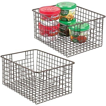 mDesign boîte en métal polyvalente (lot de 2) – grand panier de rangement en fil métallique pour la cuisine, le garde-manger, etc. – panier en métal compact multi-usage avec poignées – couleur bronze
