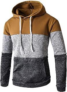 Star_wuvi Men's Hoodie Casual Color Block Front Pocket Sport Hooded Pullover Tops Winter Spring Cozy Sweatshirt