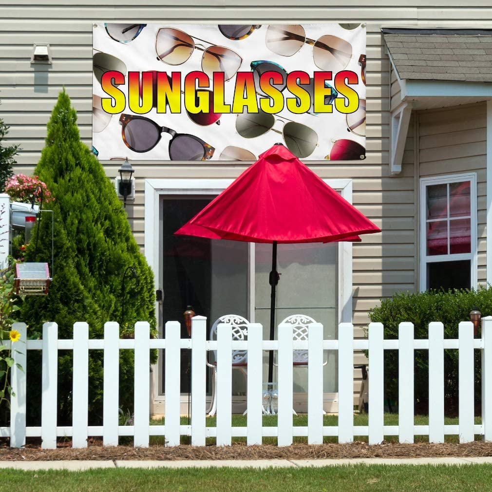 Vinyl Banner Multiple Sizes Sunglasses Outdoor Advertising Printing C Business Outdoor Weatherproof Industrial Yard Signs White 10 Grommets 60x144Inches