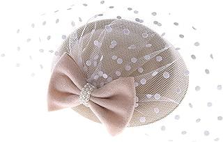Women's Fascinators Hat Pillbox Hat Cocktail Party Hat with Dot Veil Bowknot Hair Clip