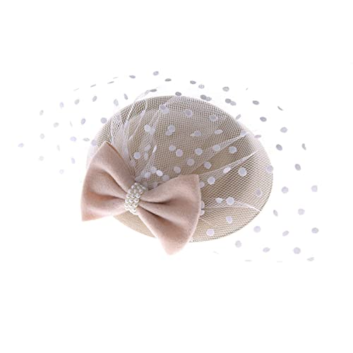 5a47d63f9e162 Women s Fascinators Hat Pillbox Hat Cocktail Party Hat with Dot Veil  Bowknot Hair Clip
