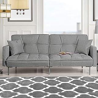 Divano Roma Furniture Collection Modern Plush Tufted Linen Fabric Splitback Living Room..