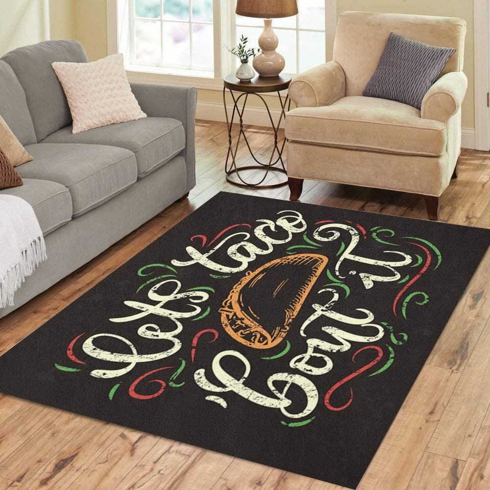 Pinbeam Area Rug Let Taco Bout 2021 model Doodl It and Lettering Flourishes Max 41% OFF