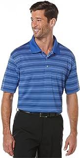617e964a PGA Tour Men's Airflux Striped Polo Performance Golf Sport Shirt (Small,  Electric Blue)