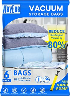 Premium Reusable Vacuum Storage Bags with Free Hand Pump, Jumbo 6 pack (40