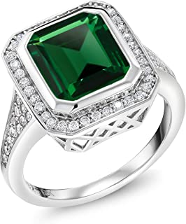 925 Sterling Silver Green Nano Emerald Women's Ring (5.00 Ct, Emerald Cut, Available 5,6,7,8,9)