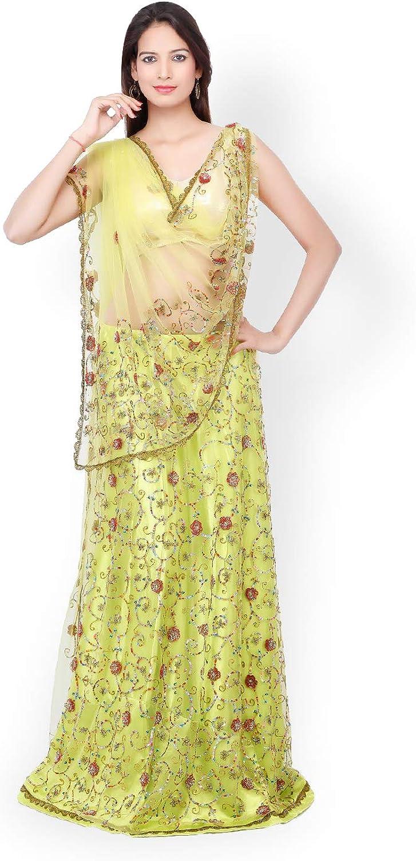 Generic WOMN Green Net Unstitched Lehenga Choli Material with Dupatta