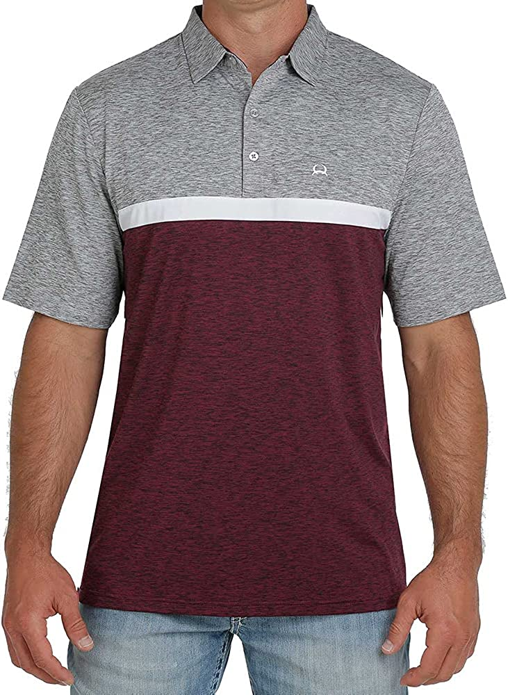 Cinch Men's Purple Two Tone Stripe Short Sleeve Polo Shirt Purple X-Small