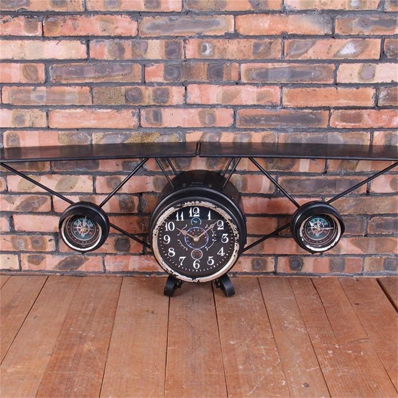 パッチ通常市民ウォールクロック大型アイアン航空機モデル装飾産業風バーレストランカフェ壁の装飾ファッション人格