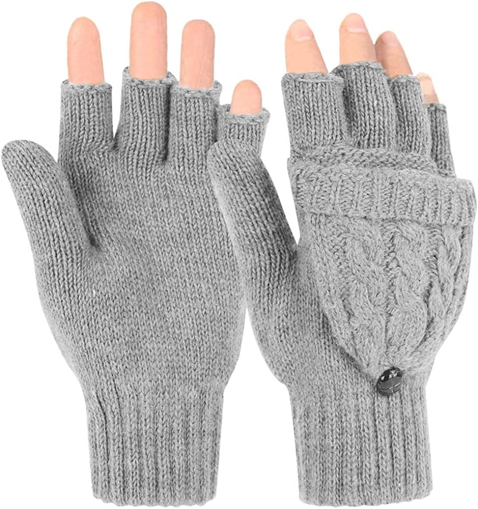 Novawo Women Winter Warm Wool Blend Knitted Convertible Gloves with Mitten Cover