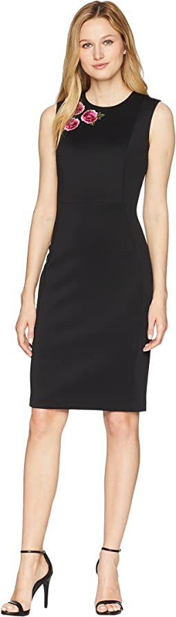 c4dc3d09 Black/Pink. 33. Calvin Klein. Scuba Sheath Dress with Embroidery Detail on  Bodice CD8M73DG. $60.99MSRP: $134.00