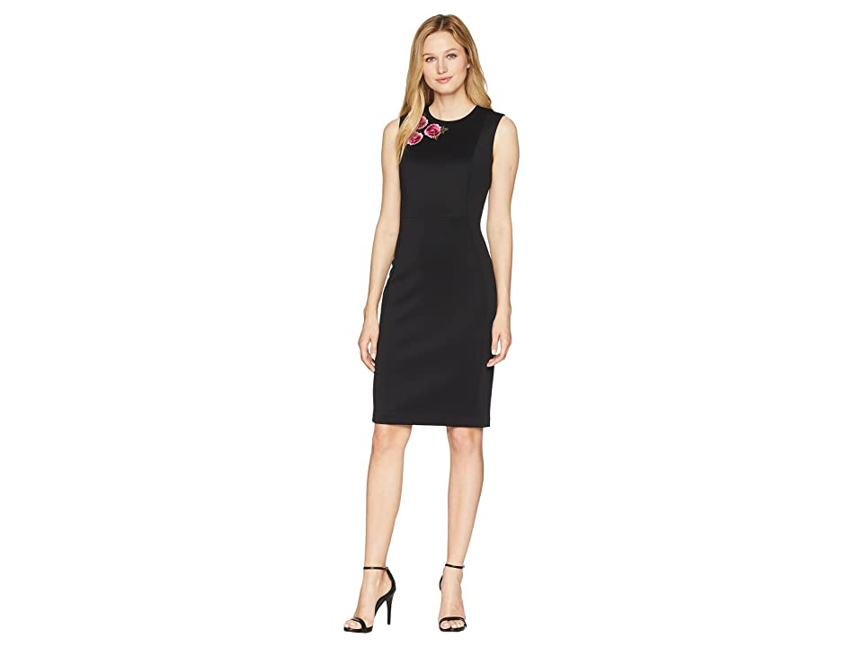 Calvin Klein Scuba Sheath Dress with Embroidery Detail on Bodice CD8M73DG (Black/Pink) Women