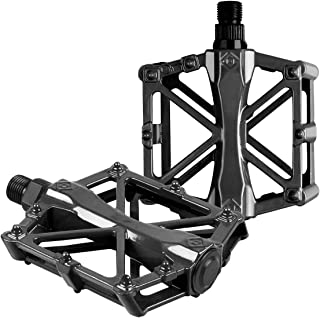Bike pedals - Mountain Bike Pedals - Aluminum CNC Bearing Bicycle Pedals - Road Bike Pedals with 16 Anti-skid Pins - Lightweight Platform Pedals - Universal 9/16
