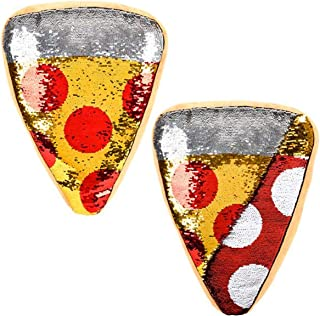 Forest & Twelfth Pizza Slice Throw Pillow ~ Reversible Sequin ~ Beautifully Colored Plush Pepperoni Pizza Slice Shaped Cushion