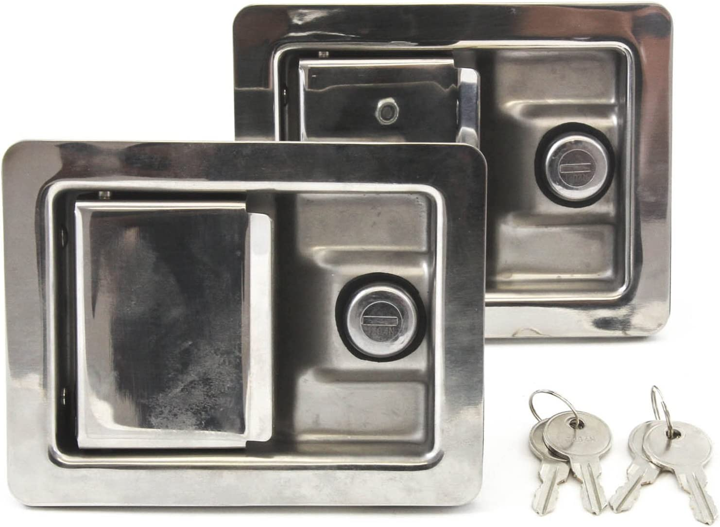 Red Hound Auto 2 Stainless New life Door Directly managed store Trailer Handle L Lock Toolbox RV