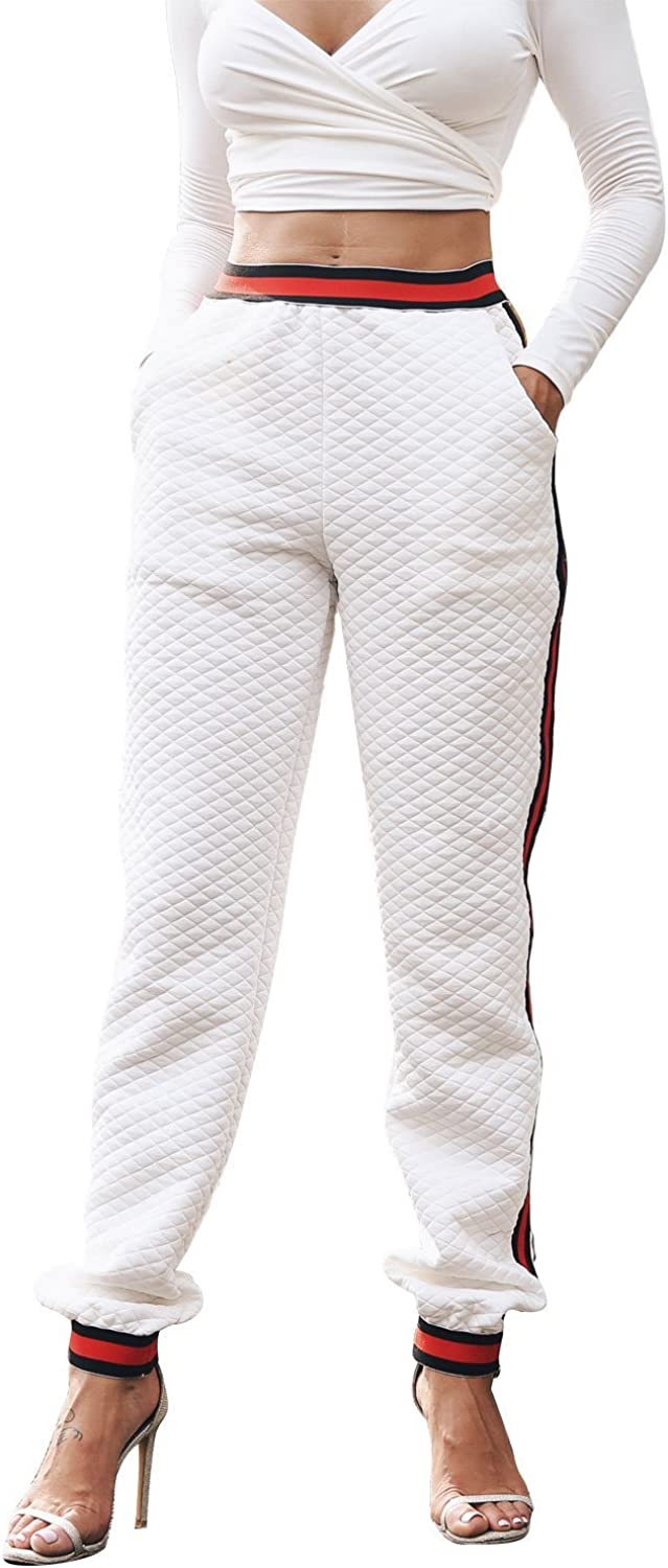 Glamaker Women's Casual High Waist Pants color Block Striped Side Jogger Sweatpants with Pockets