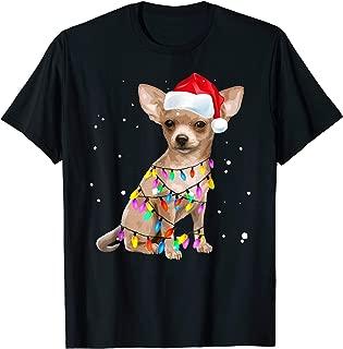 Christmas Lights Chihuahua with Santa Hat Pajamas Shirt