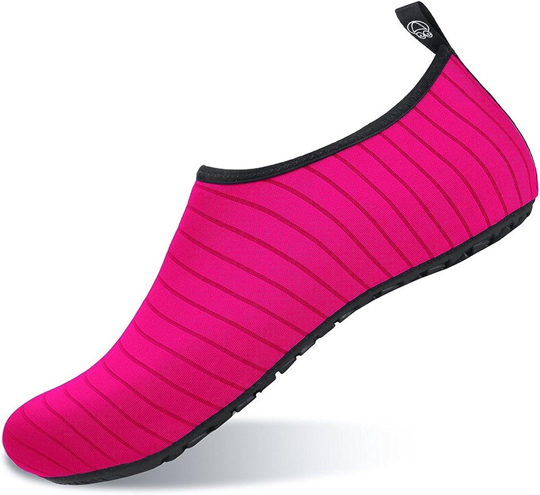 Aslipper Womens and Mens Summer Outdoor Water shoes Aqua Socks for Beach Swim Surf Yoga Exercise (XS(W 3.5-4), Stripe orange)