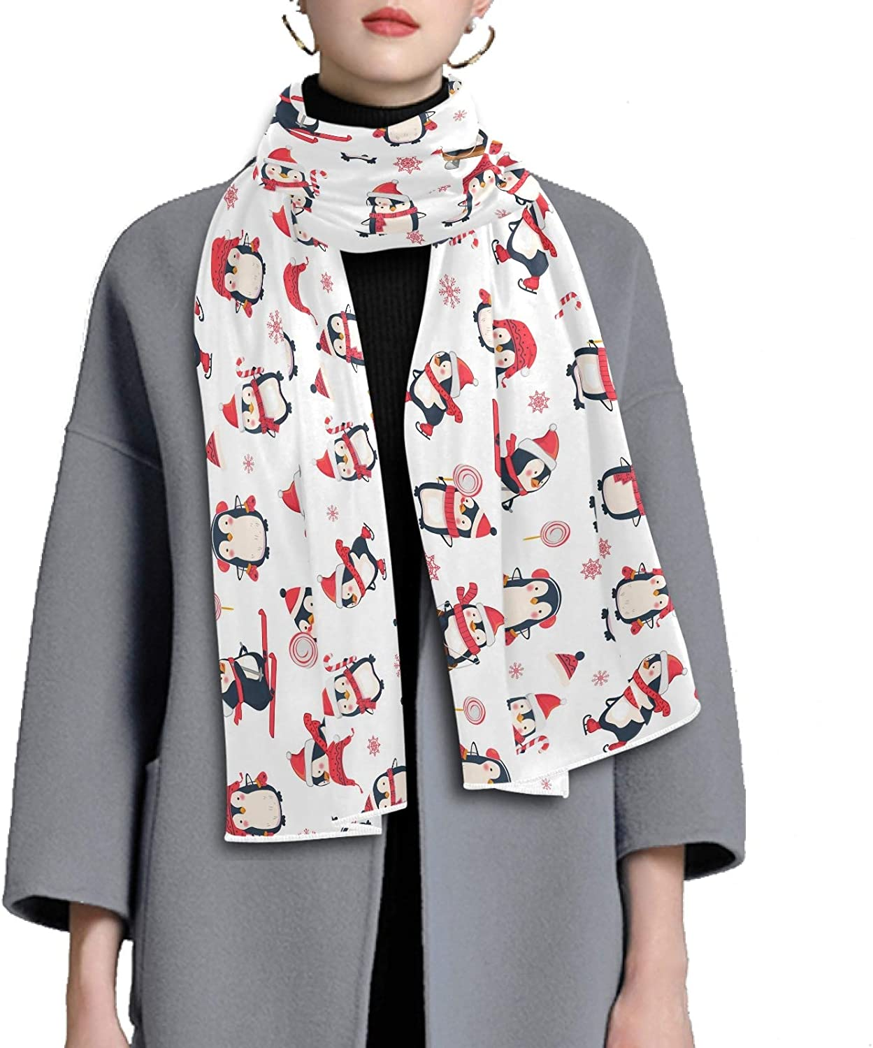 Scarf for Women and Men Cute Penguin Cartoon Christmas Blanket Shawl Scarves Wraps Warm soft Winter Oversized Scarves Lightweight