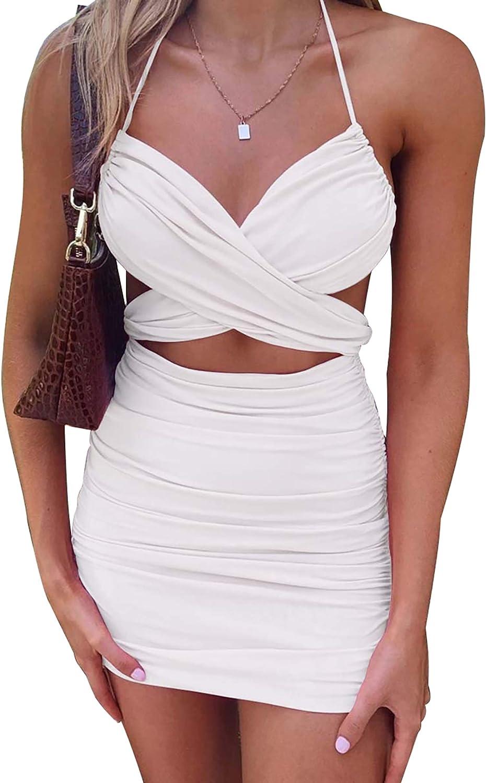 Kafiloe Women Sexy Ruched Bodycon Dress Short Sleeves Deep V Neck Tie Front Ruffle Mini Skirt Y2K Clubwear Summer Dress