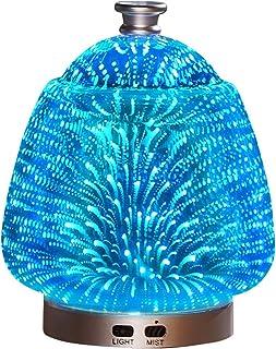 3d ガラス発光カラフルなフレグランスランプ超音波霧化加湿器エッセンシャルオイル空気清浄機